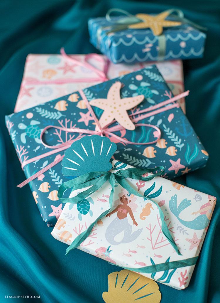 printable mermaid wrapping paper