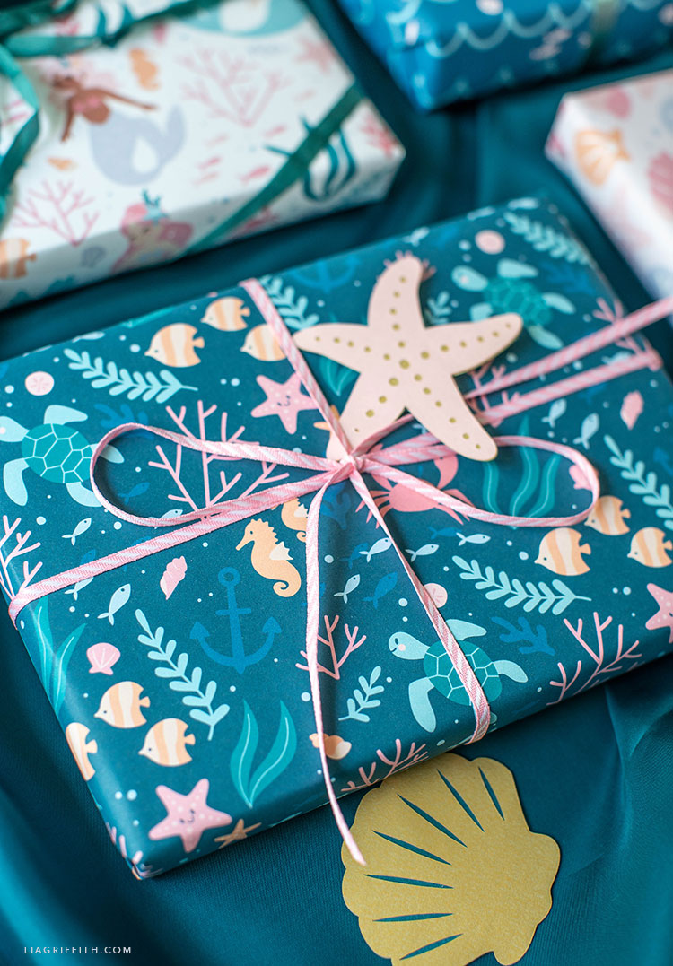 mermaid wrapping paper with papercut starfish