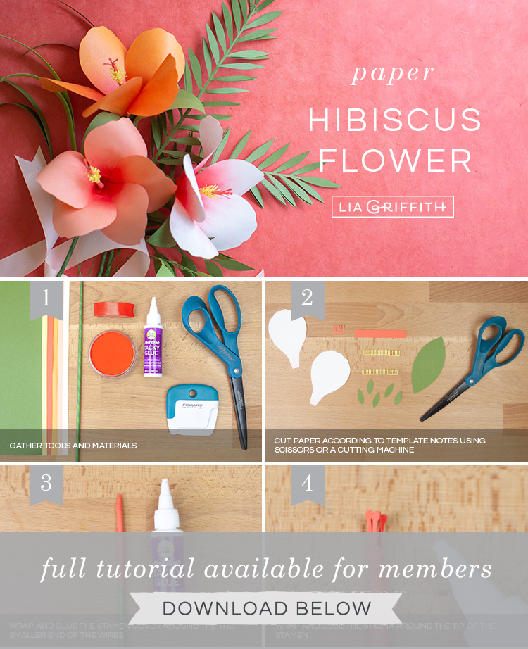 Photo tutorial for paper hibiscus flower by Lia Griffith