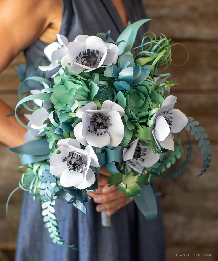 paper bridal bouquet with anemones, succulents, air plants, and ferns