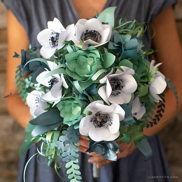 DIY paper anemone and succulent bridal bouquet