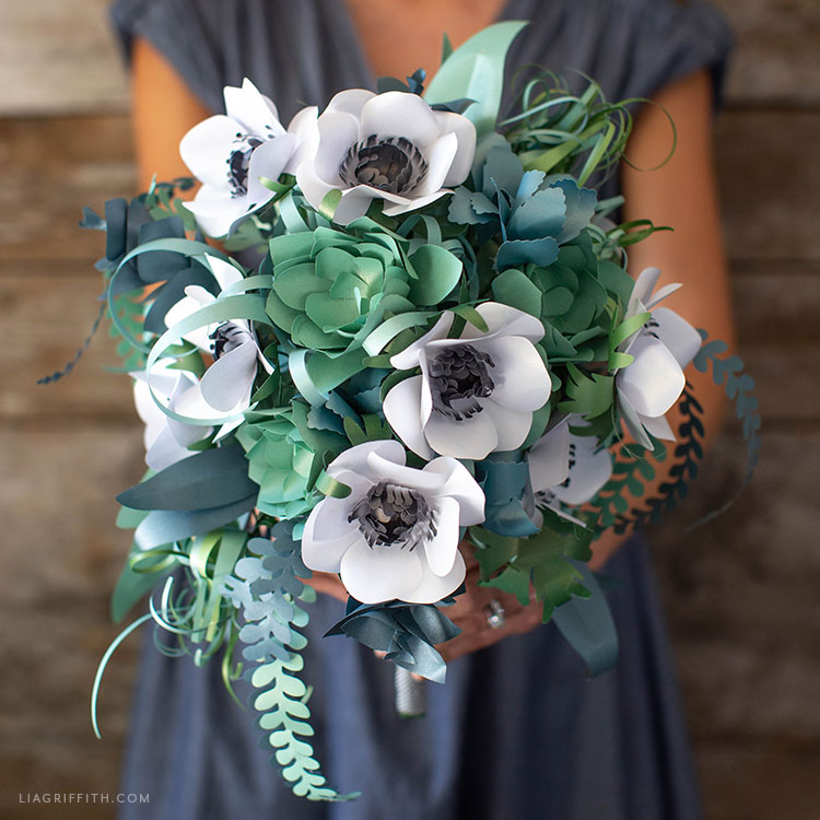 handmade paper anemone and succulent bridal bouquet