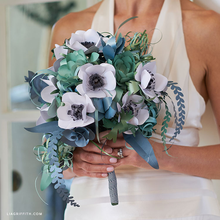 DIY paper bridal bouquet with anemones and greenery