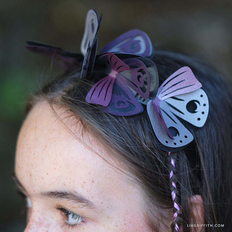 DIY papercut moth headband