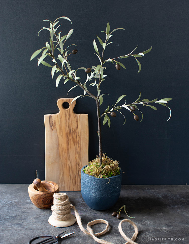 handmade paper olive tree