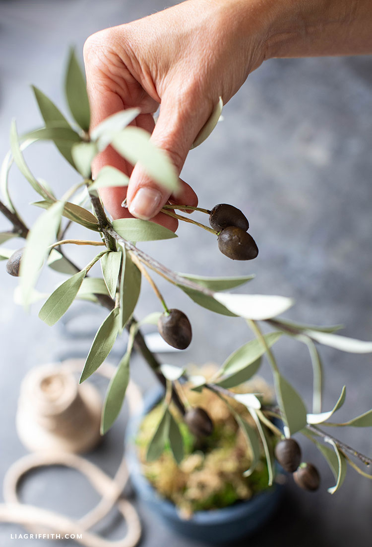 paper olive tree with cotton spun olives