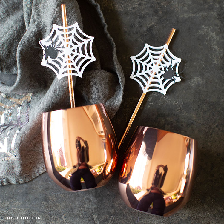 DIY spider web straw toppers