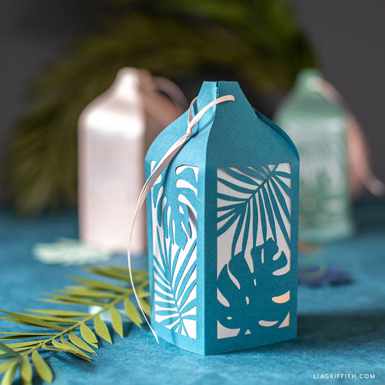 blue paper lantern with tropical design