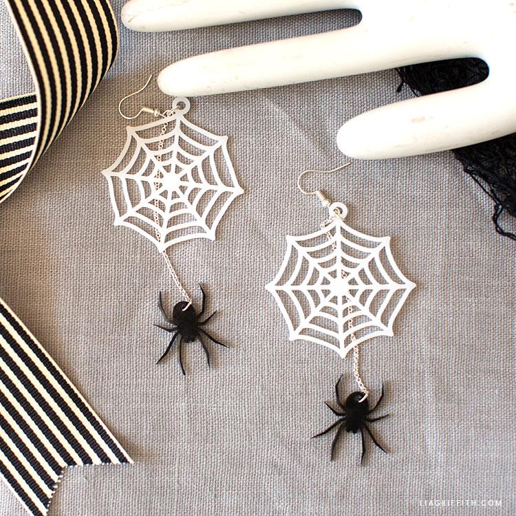 shrink film spider web earrings