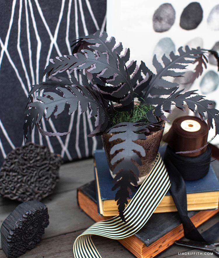 handmade black paper fern