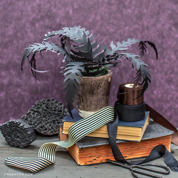 DIY black paper fern