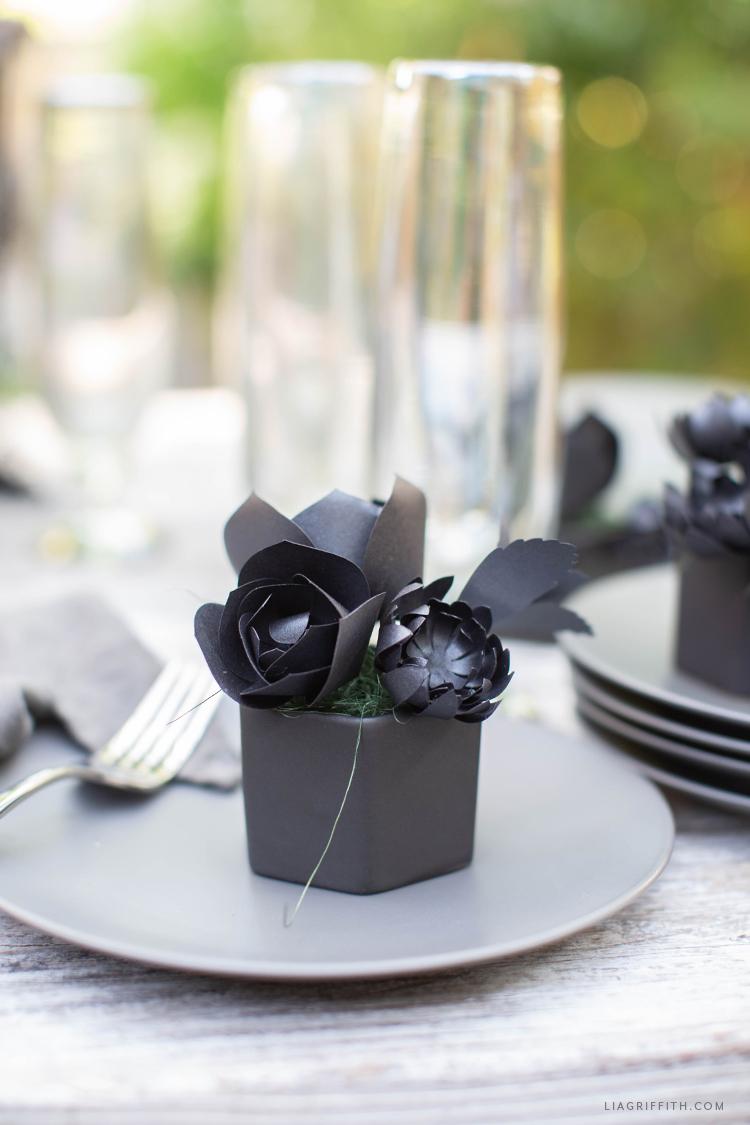 handmade black paper succulents