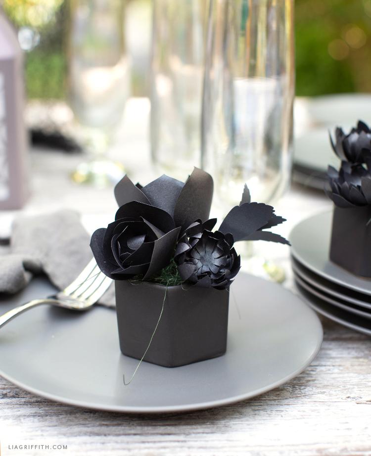 DIY black paper succulents