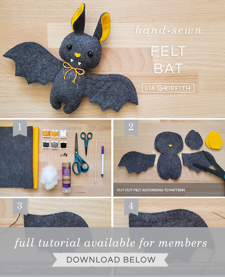 Photo tutorial for felt baby bat stuffie by Lia Griffith