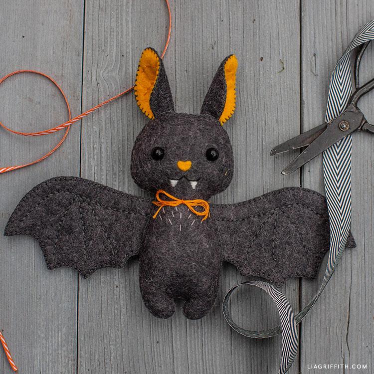 handsewn felt baby bat stuffie
