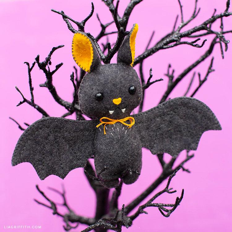 felt baby bat stuffie in Halloween tree