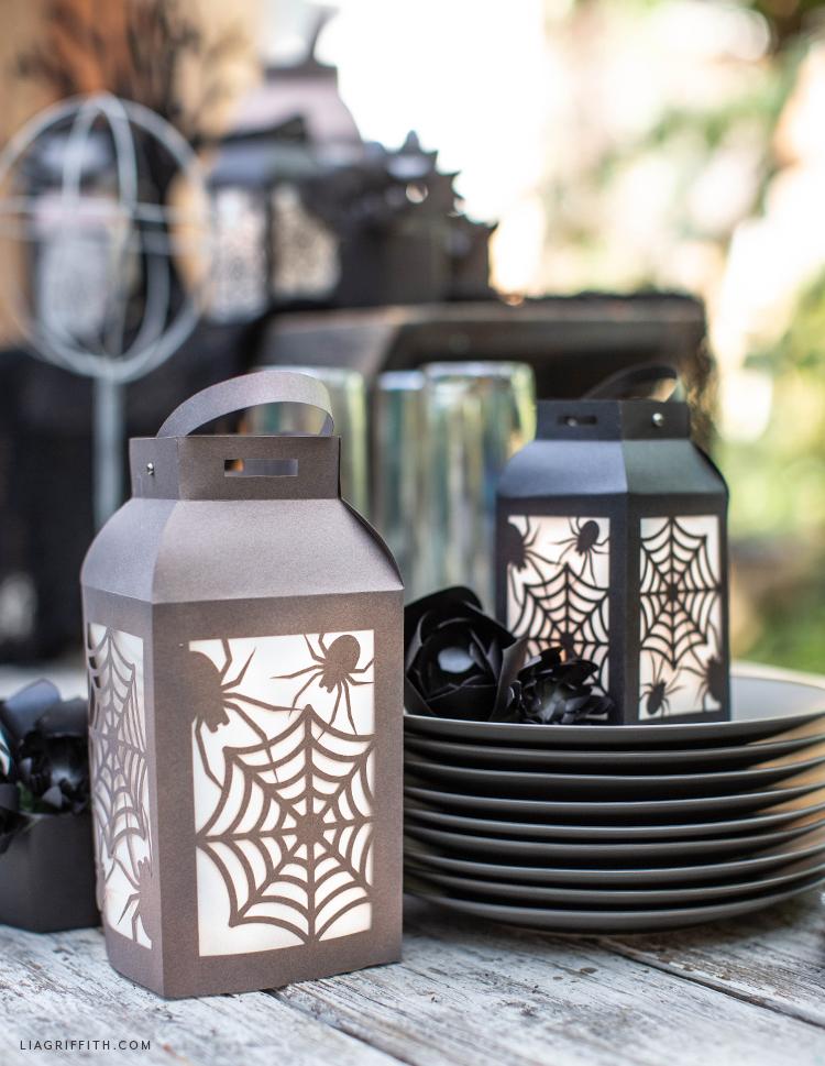 DIY papercut spider web lanterns