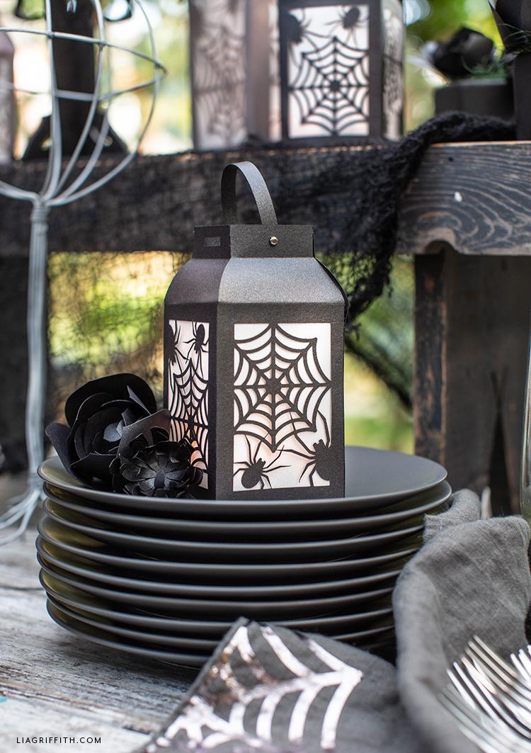 DIY paper spider web lanterns