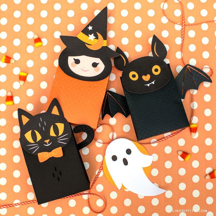 DIY cat, witch, bat, and ghost treat bags for Halloween