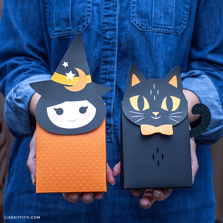 paper witch and cat Halloween treat bags