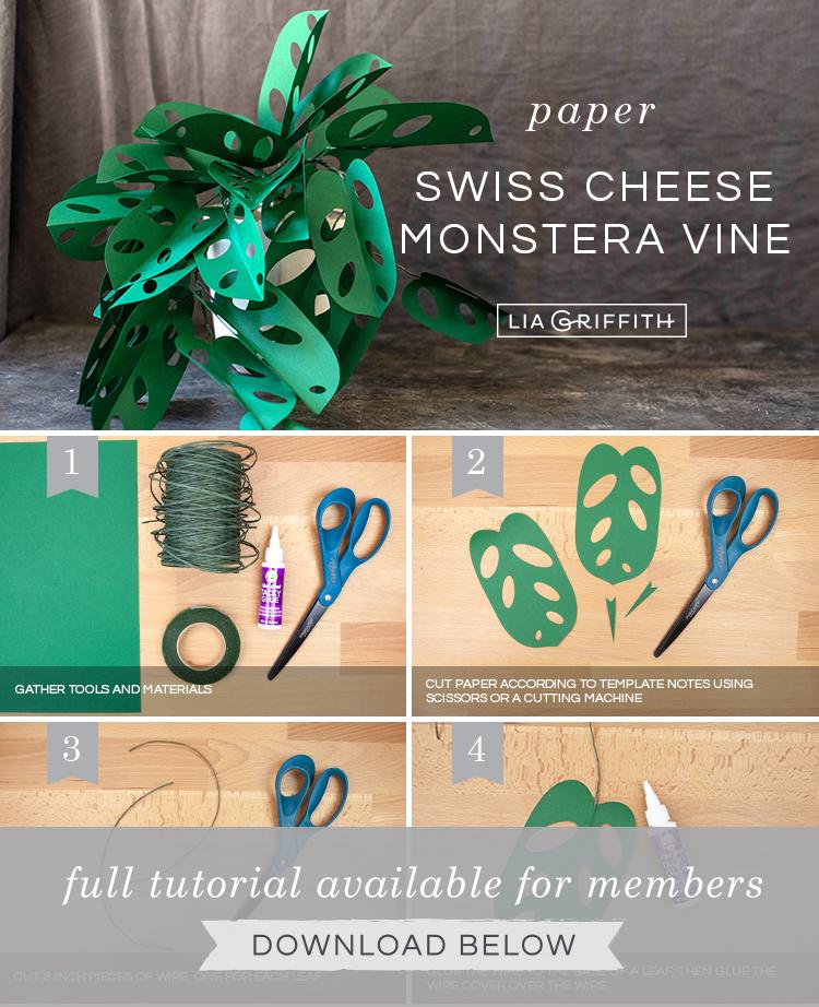 DIY photo tutorial for paper paper swiss cheese monstera vine