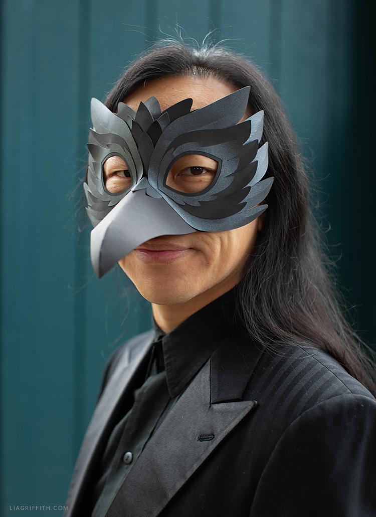 handmade paper raven mask for Halloween