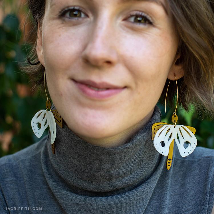 DIY shrink film moth earrings