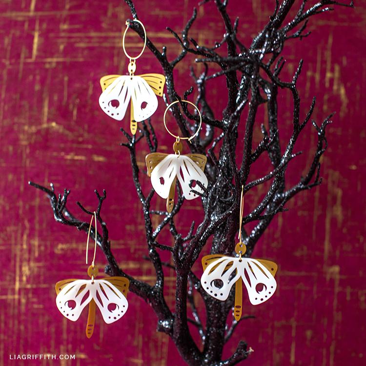 shrink film moth earrings for Halloween