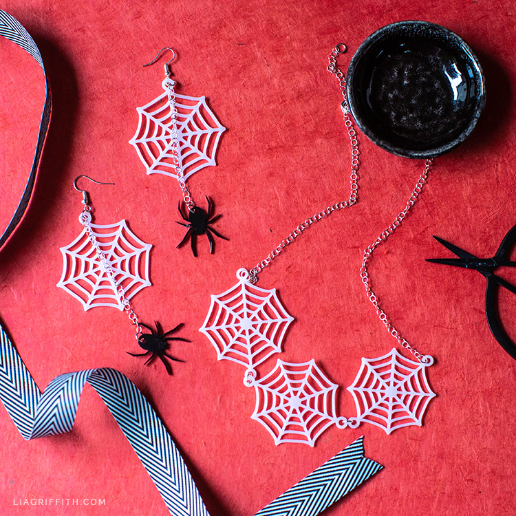 shrink film cobweb necklace and shrink film spider web earrings