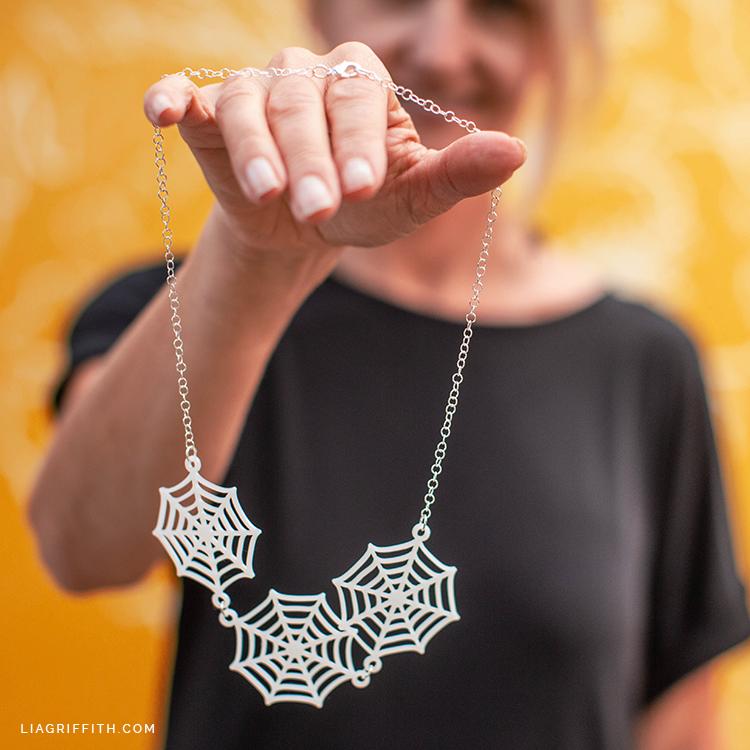 DIY spider web necklace