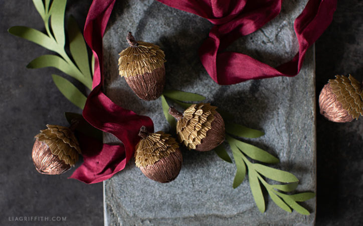 handmade crepe paper acorns