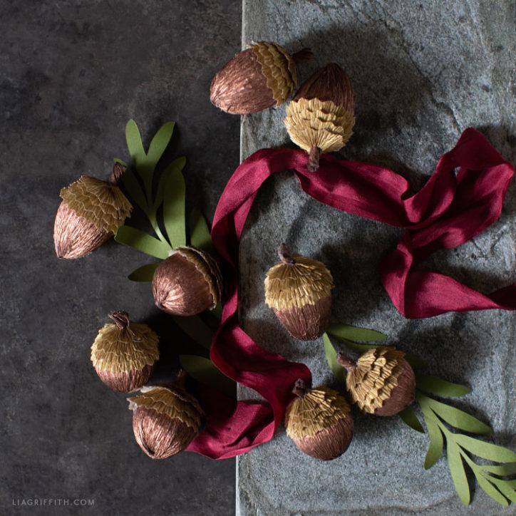 DIY crepe paper acorns