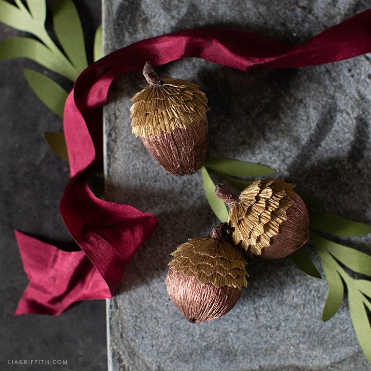 crepe paper acorns