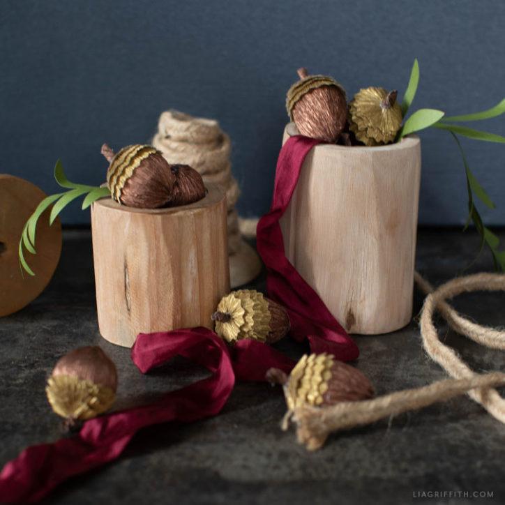metallic crepe paper acorns
