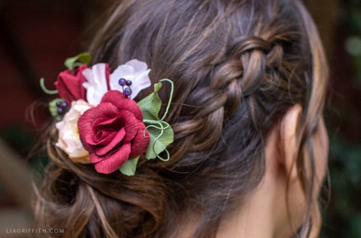 crepe paper flower bridal hair accessory