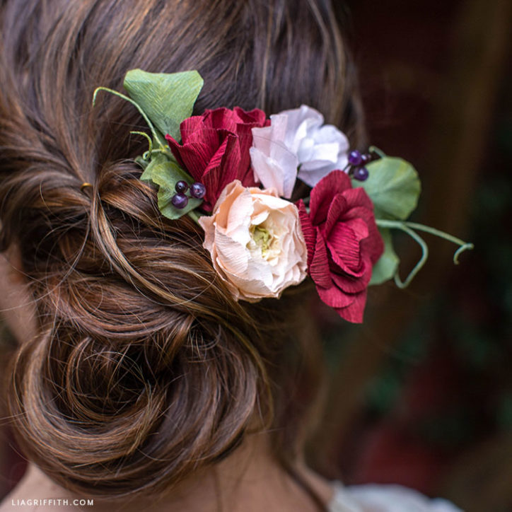 crepe paper flower hair comb for wedding day