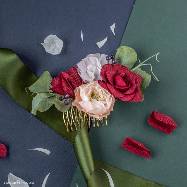 DIY crepe paper flower hair comb