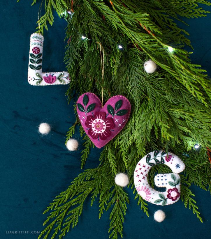 handstiched felt monogram ornaments and heart ornament