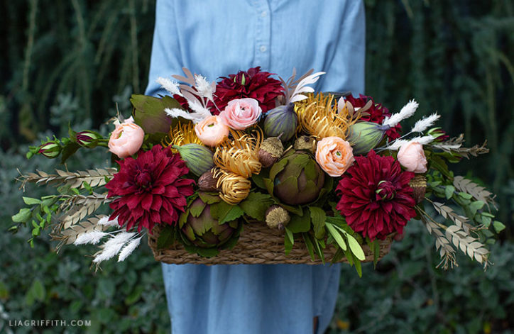 crepe paper flowers and fruit for Thanksgiving centerpiece