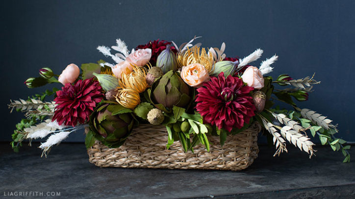 DIY Thanksgiving centerpiece made out of crepe paper