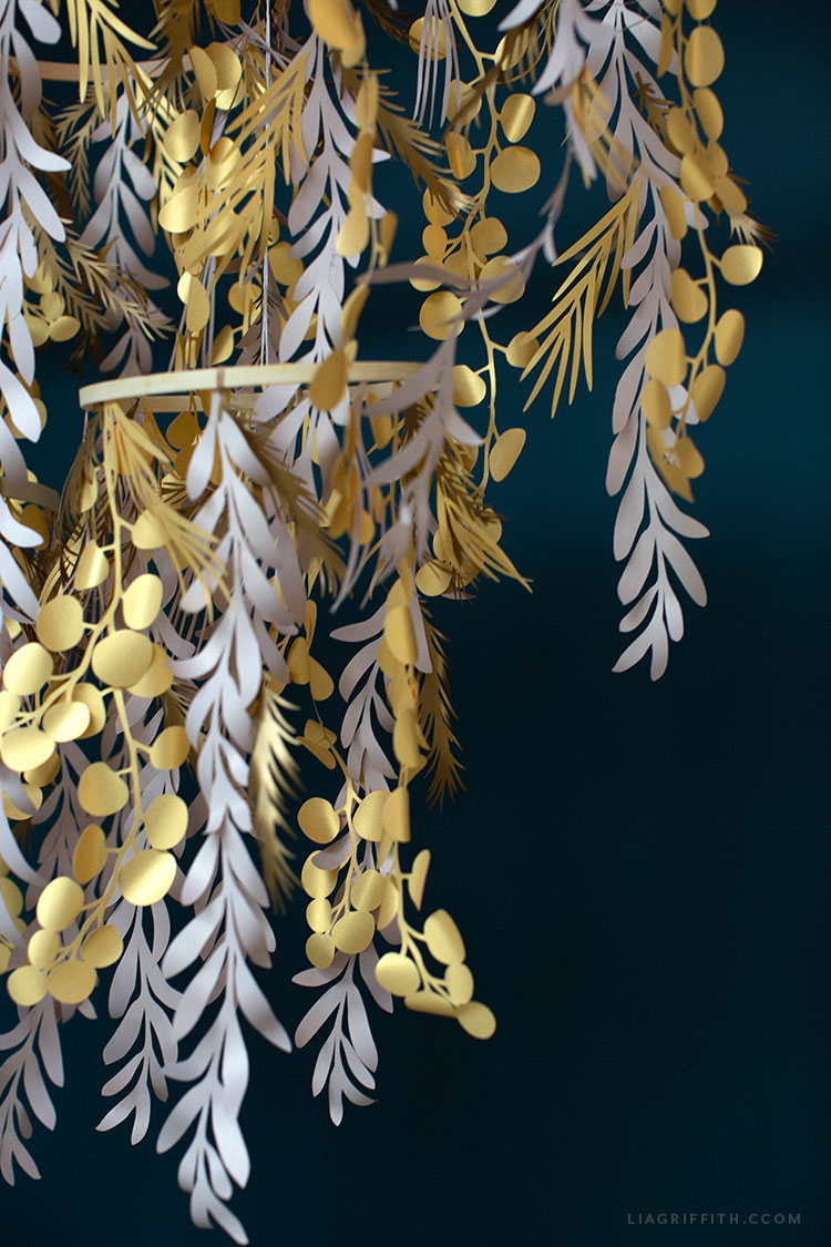 handmade paper leaf chandelier