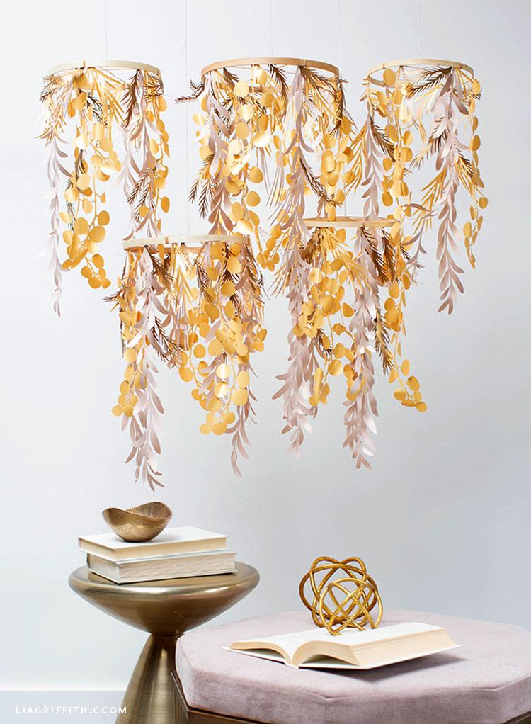 DIY paper leaf chandelier