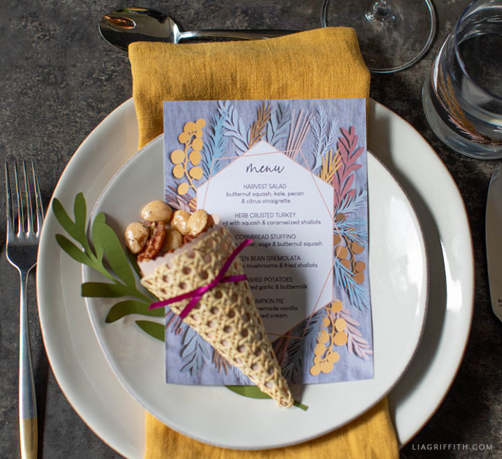 Printable Thanksgiving menu with handmade cornucopia treat cone