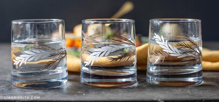 DIY leaf decals for glassware