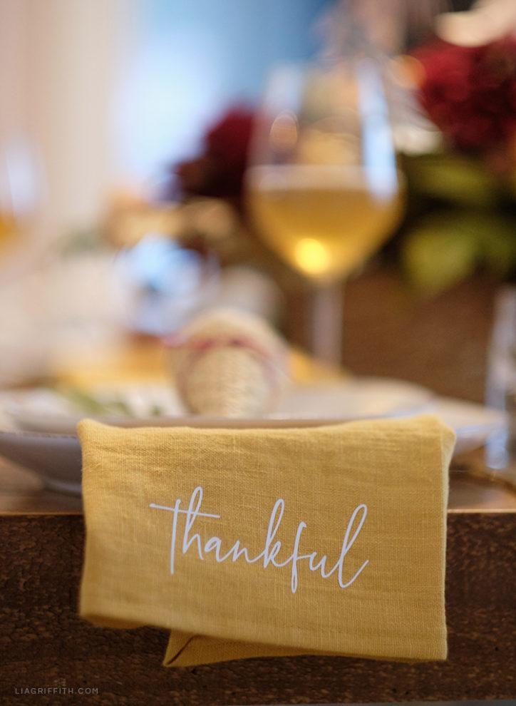 Thankful SVG for cloth napkin