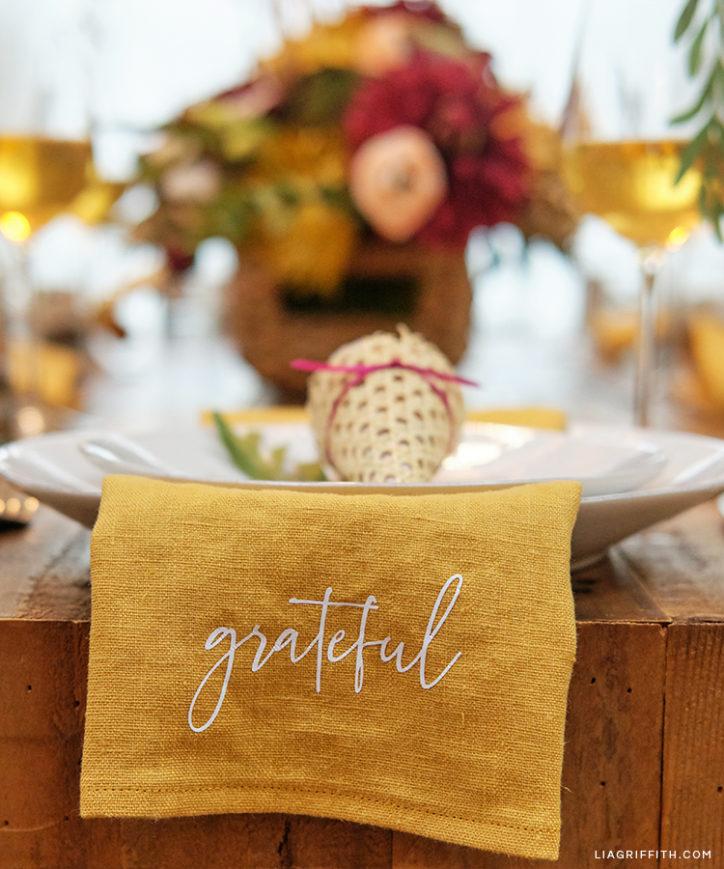 grateful SVG design for cloth napkin