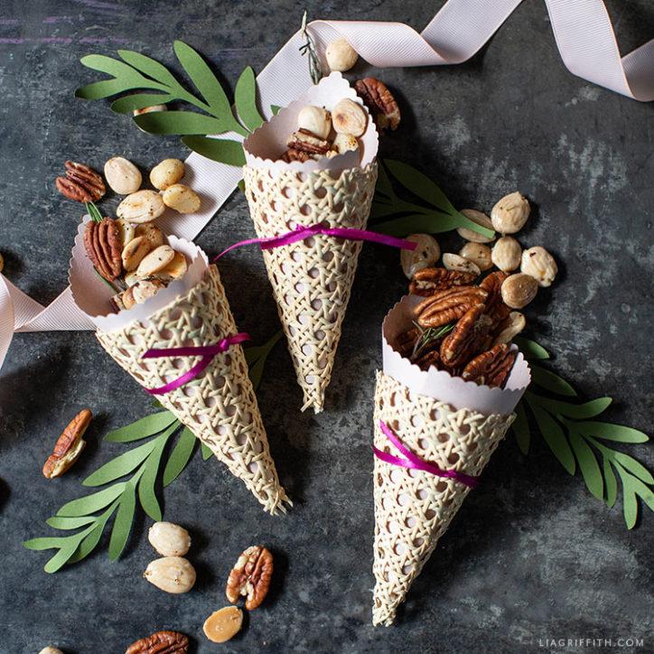 handmade cornucopia treat cones