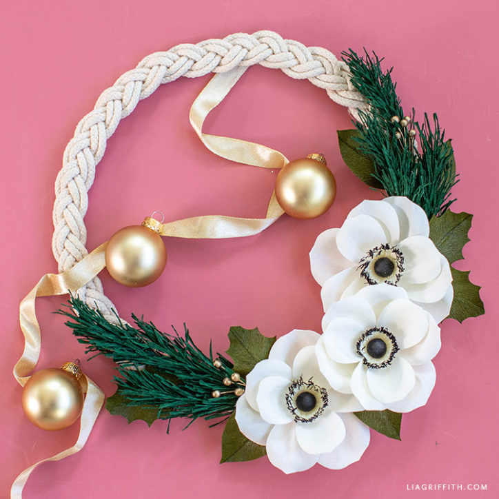 crepe paper anemone holiday wreath
