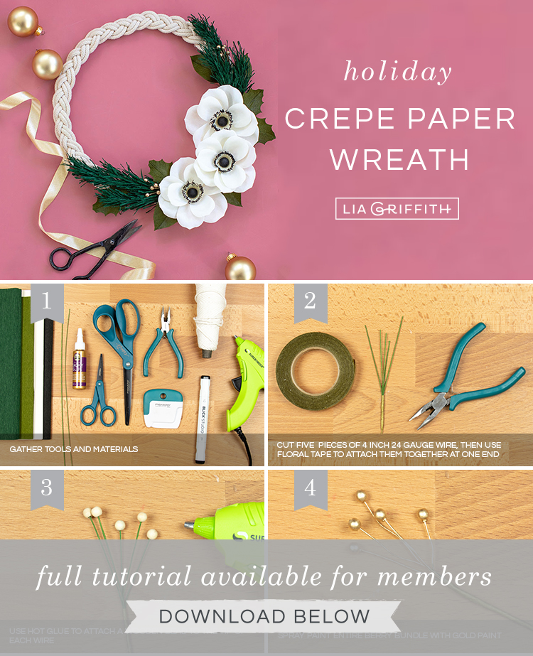Photo tutorial for paper anemone holiday wreath by Lia Griffith