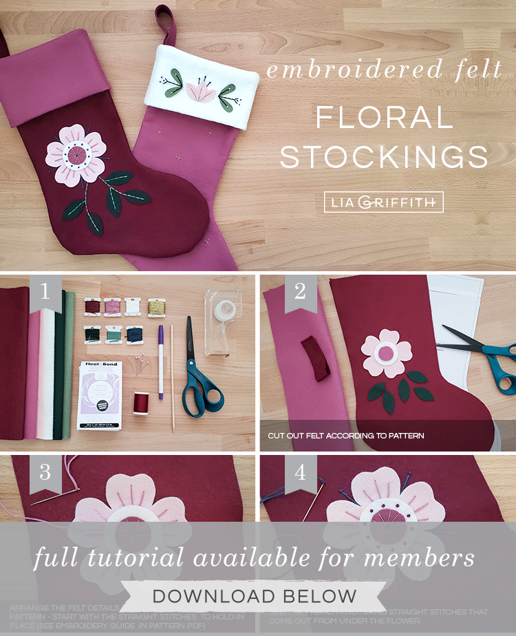 Photo tutorial for felt Christmas stockings by Lia Griffith